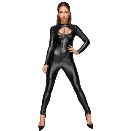 Noir Wetlook Jumpsuit med Snor - boutiqueerotic
