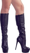 Læderlook High Heels Støvler med 13 cm Hæle