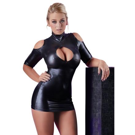 Kjole i Wetlook med fri skulder - boutiqueerotic
