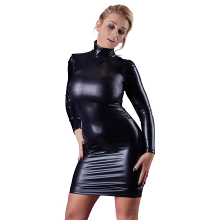 Wetlook kjole med lange ærmer og krave