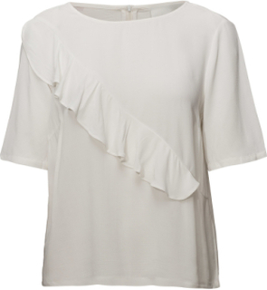 Cecilie Blouse Blouses Short-sleeved Creme Just Female