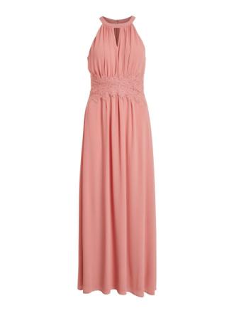 VILA Pleated Halter Neck Maxi Dress Women Pink