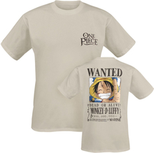 One Piece - Wanted -T-skjorte - sand