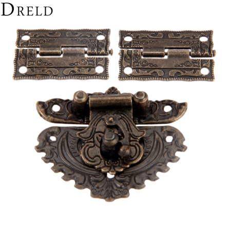 DRELD Antique Bronze Furniture Hardware Box Latch Hasp Toggle Buckle + 2Pcs Decorative Cabinet Hinges for Jewelry Wooden Box