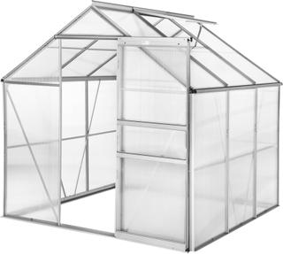 Tectake Växthus Aluminium/polykarbonat Utan Fundament - 190 X 18 Transparent