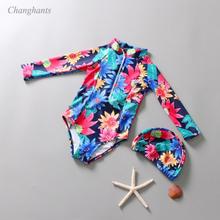 Girls one piece Swimwear 1-7 Y Baby Girl Swimsuit Set Child Long sleeve Bathing Suit Kids Flower pattern Swim Wear with Swim Cap