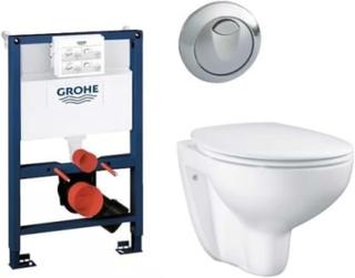 Komplet pakke m/Grohe Rapid SL cisterne, rund trykknap & Grohe Bau rimless hængeskål m/soft close sæde