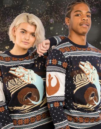 Lisensiert Strikket Star Wars Millennium Falcon Julegenser