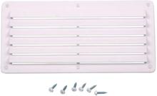 Ventilasjonsgitter, hvit, 142x80 mm, kvadratisk