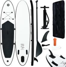 vidaXL Oppblåsbart padlebrettsett svart og hvit