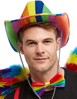 Regnbuefarget Cowboyhatt med Snøre