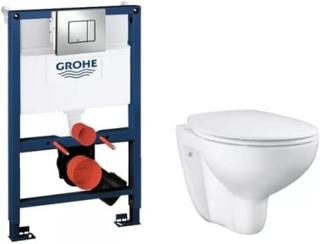 Komplet pakke m/Grohe Rapid SL cisterne, Skate Cosmopolitan trykknap & Grohe Bau rimless hængeskål m/soft close sæde