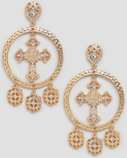 Boohoo chunky cross and coin earrings in gold