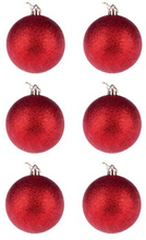 BasicsHome Julekugler Metallic Rød 8 cm 6 stk