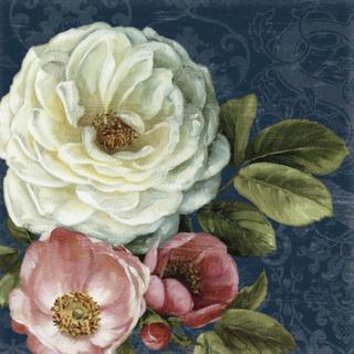 Floral Damask on Indigo Fototapeter & Tapeter 100 x 100 cm