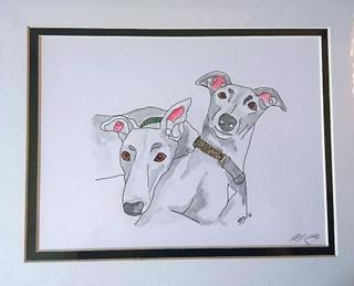 Sweet Pea Designs Søt Pea design dummere & dummere blå Greyhounds x...