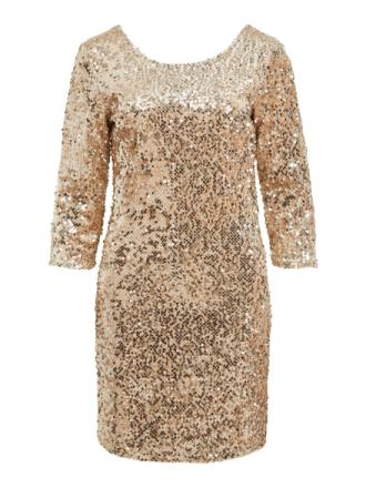 VILA 3/4 Sleeved, Sequin Dress Women Beige
