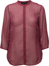 Aubine Crinkle Collarlss Shirt Bluse Langermet Rød French Connection