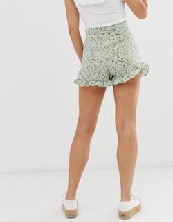 Shorts med flæser og blomsterprint fra Brave Soul-Multifarvet