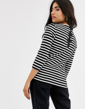 Only Petite Amanda 3/4 sleeve stripe shirt with bow detail-Black