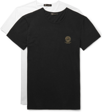 Versace - Two-pack Logo-print Stretch-cotton Jersey T-shirts - Black - XXL,Versace - Two-pack Logo-print Stretch-cotton Jersey T-shirts - Black - XL,Versace - Two-pack Logo-print Stretch-cotton Jersey T-shirts - Black - L,Versace - Two-pack Logo-print Str