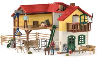 Schleich Bondegårdshus med stald og dyr