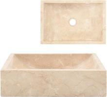 vidaXL Handfat 45x30x12 cm marmor gräddvit