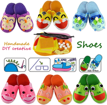 DIY Handmade Cartoon slippers sewing kit,Non-woven Fabric Shoes kids Art & Crafts Kindergarden Montessori Educational Kid Toys