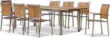 Förlängningsbart bord 200-250cm + 8 stolar - Rostfritt stål och oljad Acacia