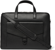 Pebble-grain Leather Briefcase - Black
