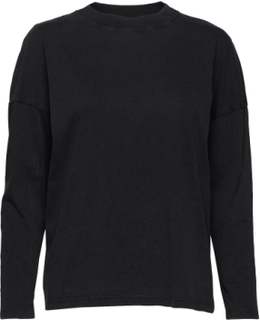 Organic Cotton T-Shirt T-shirts & Tops Long-sleeved Svart MANGO