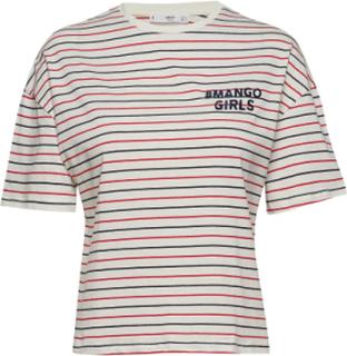 Mango Girls Embroidered T-Shirt T-shirts & Tops Short-sleeved Creme MANGO