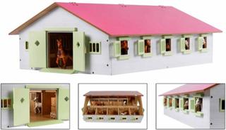Kids Globe hestestald med 9 bokse 1:32 lyserød 610188