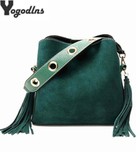 Vintage Fashion Women Fringe Bucket Shoulder Bag High Quality Suede Messenger Crossbody Bag Female Bucket Rivet Tassel Bag