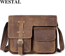 WESTAL Men's Bags Genuine Leather Men's Shoulder Bag Male Crazy Horse Vintage Crossbody Bags for Men Messenger Bag Leather 1050