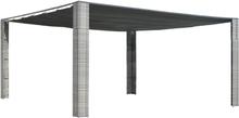 vidaXL Paviljong med skjutbart tak konstrotting grå 400x400x200 cm