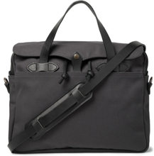 Original Leather-trimmed Twill Briefcase - Charcoal