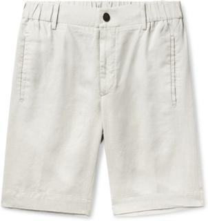 Slim-fit Linen Shorts - Ecru
