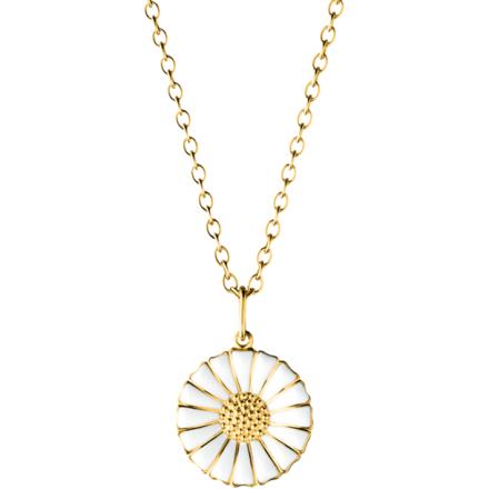 Daisy Medium Halsband Guldpläterat Silver Med Vit Emalj