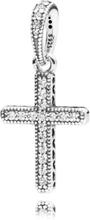 Klassiskt Kors Glittrande Silver