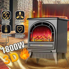 220V Electric Fireplace Heater 1800W 3D Simulation Fires Electric Fireplace Heater Vertical Heater's Household Office