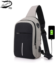 Fengdong small usb charge one shoulder bag men messenger bags male waterproof sling chest bag boy travel bagpack cross body bags