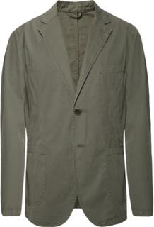 Grey-green Slim-fit Unstructured Cotton-poplin Blazer - Gray green