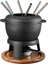 Dorre Fonda fondue gjutjärnsgryta med akaciaträplatta