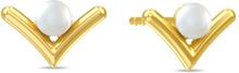 Spinning Jewelry ørestikker - Victory pearl - Forgyldt sterlingsølv