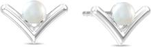 Spinning Jewelry ørestikker - Victory pearl - Rhodineret sterlingsølv