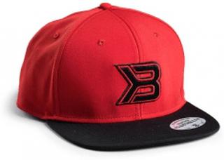 Flat bill cap, red/black, better bodies