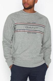 Gant D1. GANT Stripe C-Neck Sweat Gensere Grey Melange
