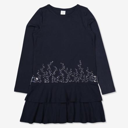 Klänning med volanger och paljetter mörk marinblå 122 128