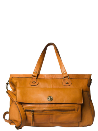 PIECES Leather Travel Bag Women Brown